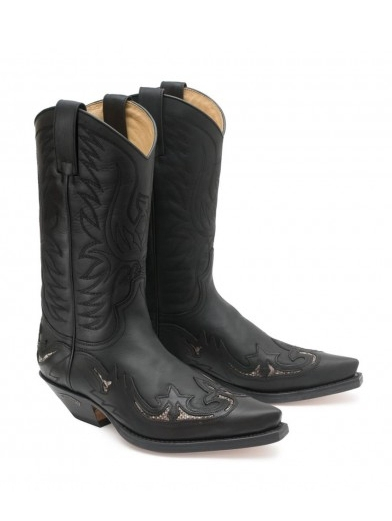 Sendra Western Boots Exotic Real Python trans - schwarz