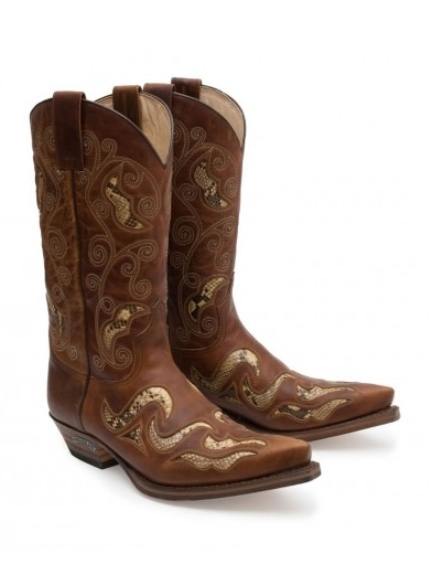 Sendra Western Boots Exotic Real Python Floral
