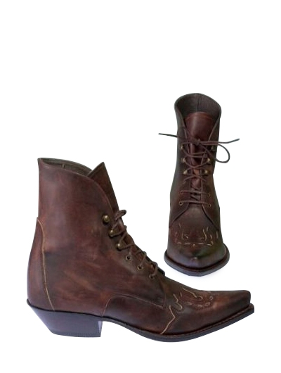 Sendra Western Bootee Lace-Up-Granny - Marron