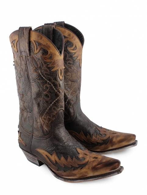 Sendra Western Boots Crushed Marron Overlay