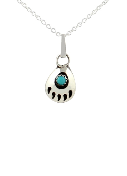 Kette & Anhänger, Little Foot, Navajo Bear Paw Art - Türkis