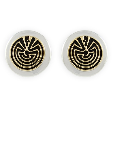Ohrstecker Man-in-the-Maze 14 Kt. Gold Overlay