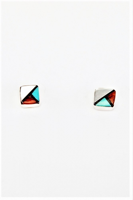 Ohrstecker Triangle Trio, Zuni Mosaik Art - Multicolor