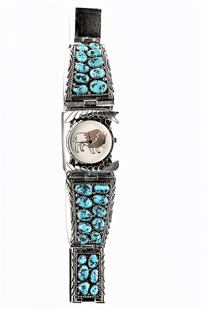 Herrenuhr Big Boy Cluster, Navajo Art - Türkis, Ø 6,8 cm