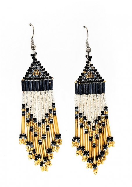 Ohrhänger Gold and Silver, Native Indian Seed Bead Art - Glasperlen