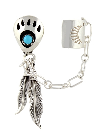 Ohrstecker, Silber, Türkis*, Ear Cuff Small Foot, Navajo Bear Paw Art