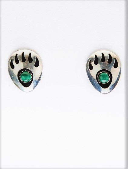 Ohrstecker, Silber, Malachit, Goodly Foot, Navajo Bear Paw Art